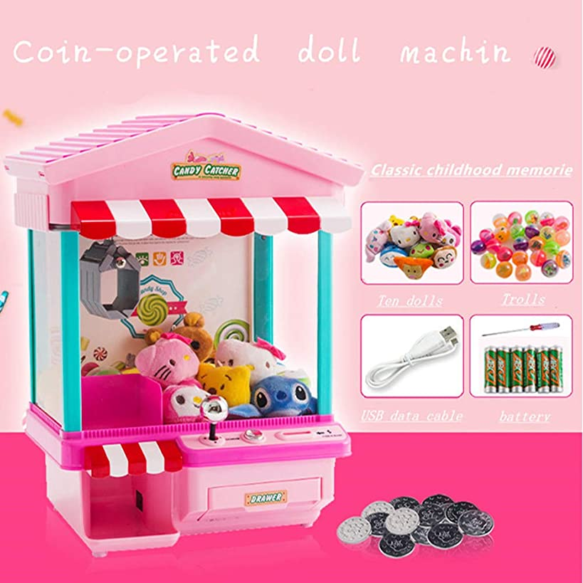 29*22*36.5CM Features Electronic Claw Toy Grabber Machine,Animation,4 Animal Plush,and Authentic Arcade Sounds for Exciting Play