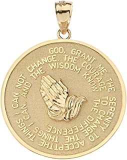 Solid 14k Yellow Gold Bible Verse Serenity and Lord's Prayer Medal Pendant
