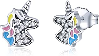 Unicorn Gifts Stud Earrings for Girls Women Hypoallergenic S925 Sterling Silver with 3A Zircon Sensitive Cute Kid Earrings