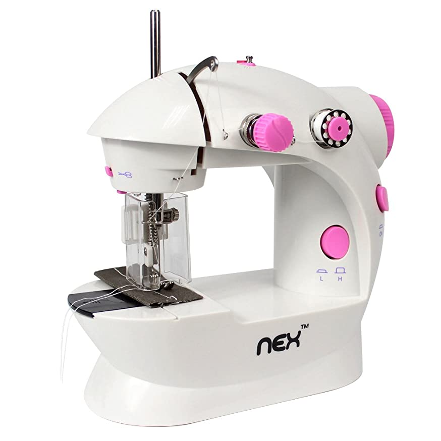 NEX Sewing Machine Mini Size for Little Sewing Projects Double Thread Double Speed with Foot Pedal Light Safety Cover