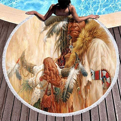 Serviettes de Plage Native Old Woman Feathers Soft & Large Serviette de Piscine de Voyage Ronde Serviette de Piscine étanche au Sable pour Le Bain/la Plage/Les Heures de Pique-Nique