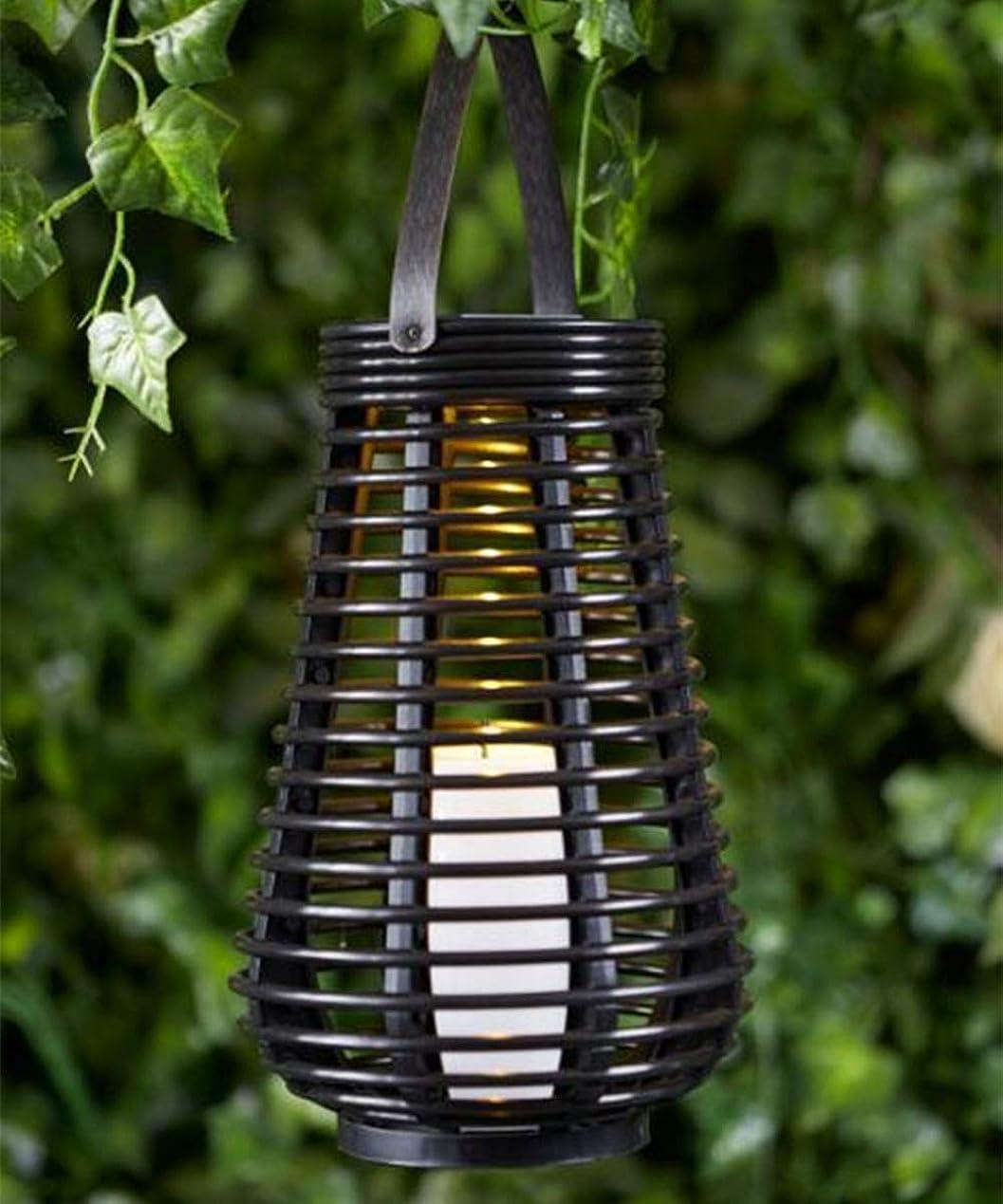 ハブビクター免除ACHICOO LED防水塔型吊りソーラーライト装飾籐スタイルランタンFlamelessキャンドルランプ