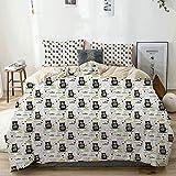 Juego de funda nórdica beige, silueta de oso durmiente con bufanda, corazones y fondo de nubes de lluvia, animal del bosque, juego de cama decorativo de 3 piezas con 2 fundas de almohada, fácil cuidad