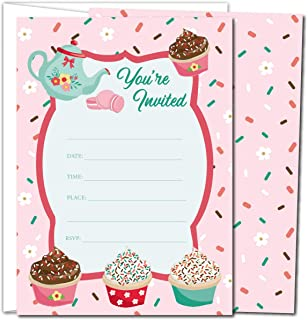 Gooji Cupcake Party Invites – 5x7 Large 25pcs Double Sided Tea Party Invitations With 25 Envelopes – Cute Invite Cards For Baby Shower, Baby Registry And Girls Birthday Party Supplies …