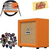 Orange Crush Mini Guitar Combo Amplifier Bundle with Instrument Cable, 24 Picks, and Austin Bazaar Polishing Cloth