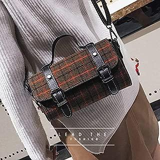 Fashion Single-Shoulder Bags Fashion Retro Plaid Pattern Casual Handbag Single Shoulder Bag (Black) (Color : Black)