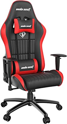 ANDASEAT Jungle Game Chair,Ergonomic Racing Computer Gaming Chair,5 Angle Adjustable Armrest Swivel Rocker Recliner Office Chair with High-end Leather,Headrest and Lumbar Pillow E-Sports Chair-Red
