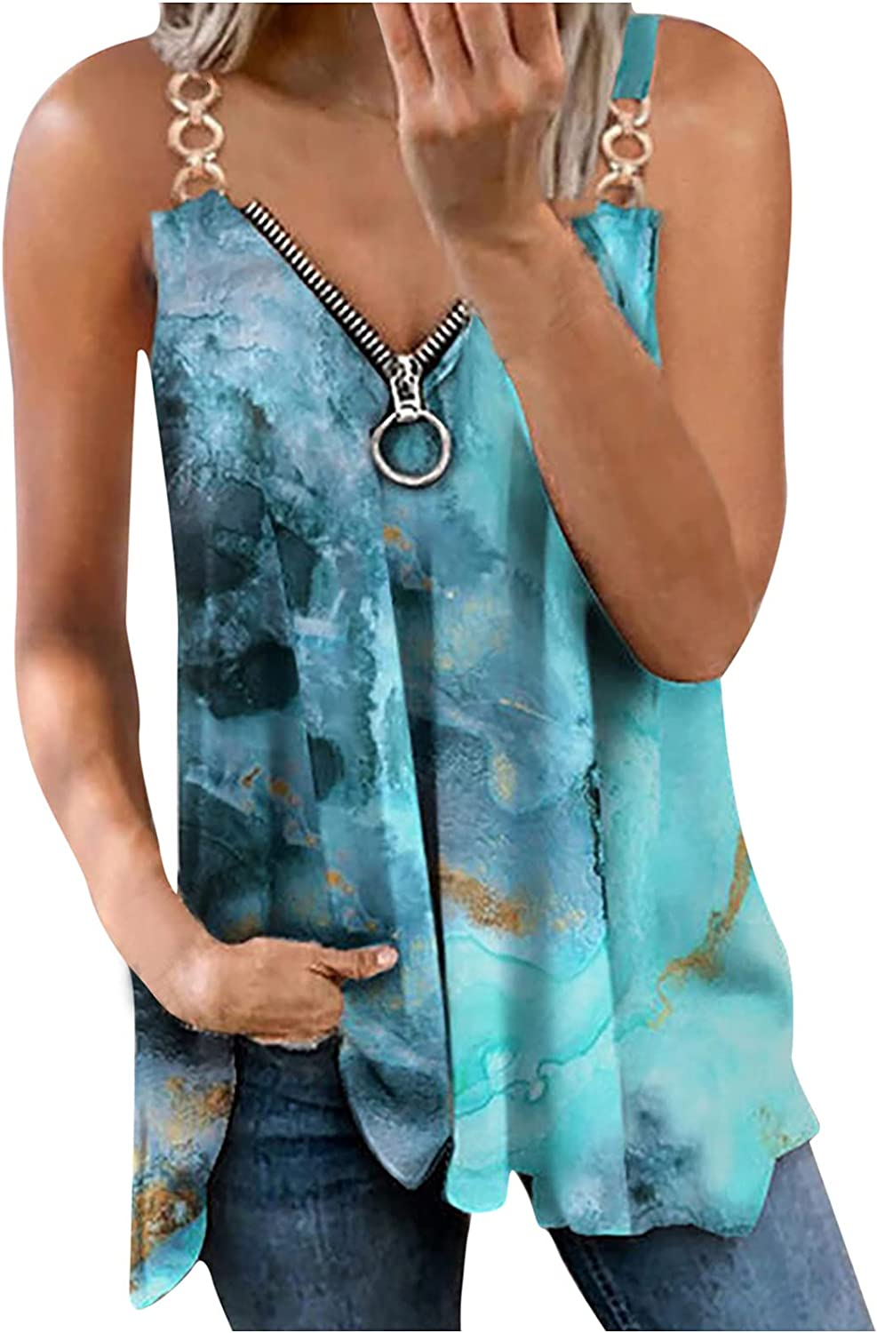 Juniors Women's Casual Sleeveless V-Neck Zipper Hollow Out Printing Vest Blouse Tops