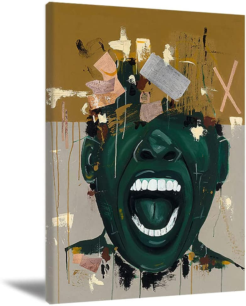 Black Men Wall Art African American Art Painting You Stole My History Artworks Pictures African American Black Man Paintings Canvas Art For Living Room Bedroom Bathroom Home Decor 16X24Inch Unframed