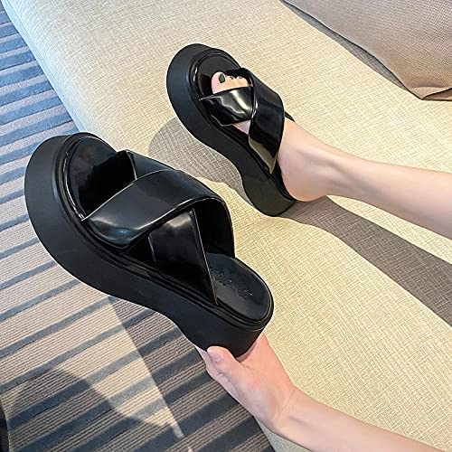 ypyrhh Comfort Antiscivolo Pantofole Casual,Pantofole nella Parte Spessa, Involucro Incrociato-Nero_35,Moda Mocassini Loafers Scarpe