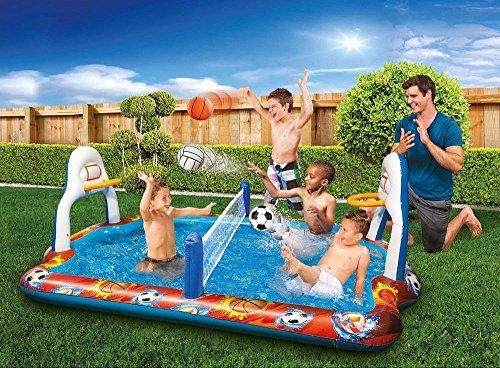 Kiddie Pool Water Sports Arena Activity Splash Pool Volleyball Net & Full Court Basketball Hoops Wading Water Fun!