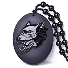 CHENGSH pendant necklace Natural Black Obsidian Hand Carved Wolf Head Amulet Pendant Black Beads Necklace Blessing Lucky pendants Jewelry