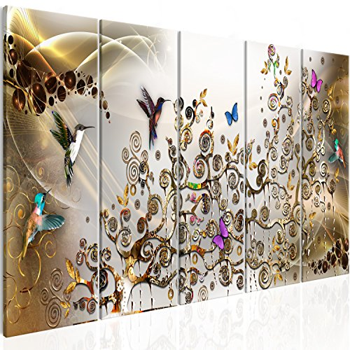murando Akustikbild a\'la Gustav Klimt 200x80 cm Bilder Hochleistungsschallabsorber Schallschutz Leinwand Akustikdämmung 5 TLG Wandbild Raumakustik Schalldämmung - Kolibri l-C-0008-b-n