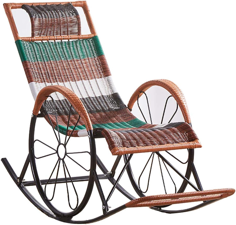 LWG - Stühle Liegestuhl Mittagspause Schaukelstühle mit verdicktem Rattan atmungsaktiv wetterfest tragbar für Garten Balkon Terrasse Gewicht 150kg