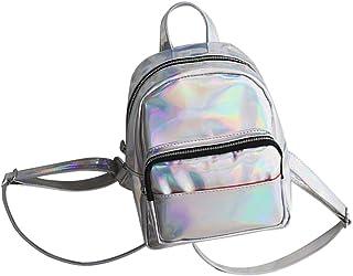 Chic Holographic mochila lindo holograma escuela hombro bolso Satchel regalo para los amigos (plata)