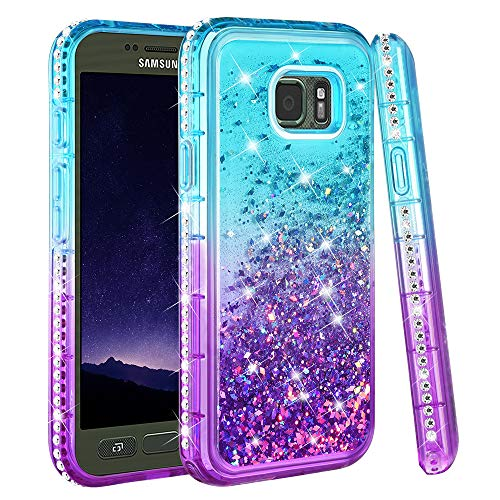 Ruky Galaxy S7 Active Case (Not Fit Galaxy S7), Gradient Quicksand Series Glitter Flowing Liquid Floating Soft TPU Bling Sparkly Diamond Girls Women Phone Case for Samsung Galaxy S7 Active (Aqua)