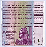 Zimbabwe 500 Million Dollars x 10 Notes 2008 UNC, World Inflation Record, Currency banknotes -