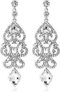 Big Vintage Diamond Mounted Silver Flower Teardrop Stunning Dangle Drop Chandelier Earrings for Women Girls