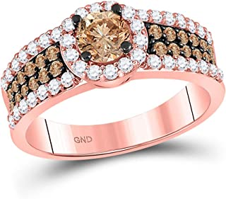FB Jewels 14kt Rose Gold Womens Round Brown Diamond Solitaire Bridal Wedding Engagement Ring 1-1/4 Cttw Size 7