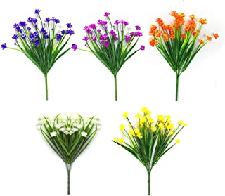 Artificial Fake Flowers 5 Bundles of 5 Colors Outdoor UV Resistant Greenery Shrubs Plants Indoor Outside Hanging Planter H...
