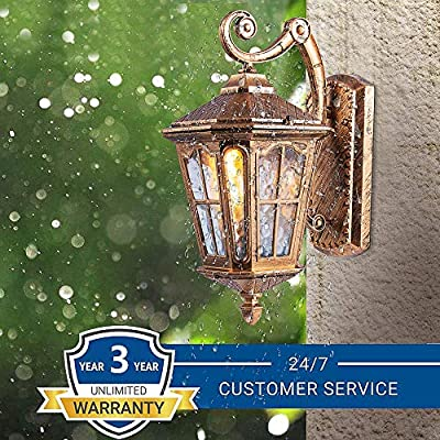 Outdoor Waterproof Wall Sconce Lantern Lamp Exterior Wall Lights for House as Porch Lighting Fixture Oil Rubbed Bronze