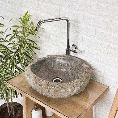 wohnfreuden Stein-Waschbecken mit Naturkante-Rand ca. 45 cm Unikatauswahl nach dem Kauf aus Bildergalerie