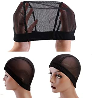 JUFEN Dome Caps Stretchable Wigs Cap, Spandex Dome Style Wig Caps For Men Women (2 Pack, Black Nylon Wig Caps)