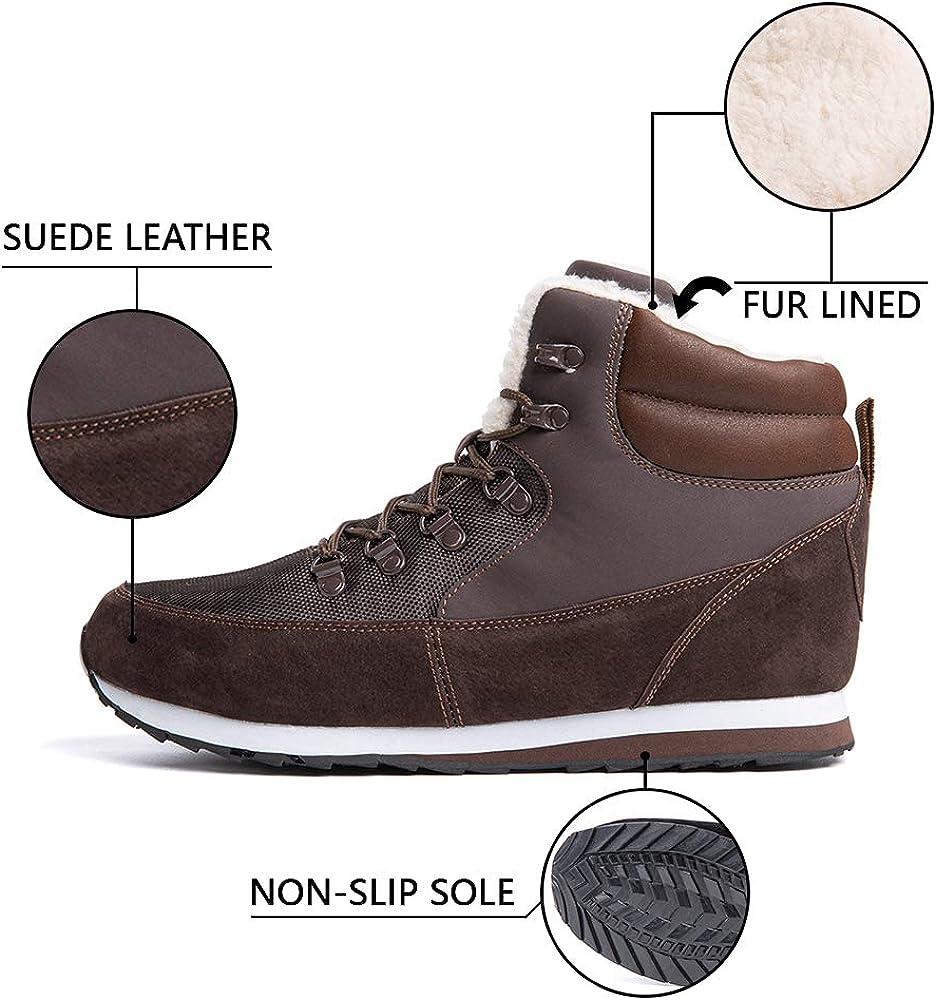 Hitmars Bottine Femmes Homme Hiver Chaussures de Neige Boots Fourrees Mode Courts avec Doublure Chaude Basket PU Cuir Cheville Plates Botte Noir Bleu Marron 35-50