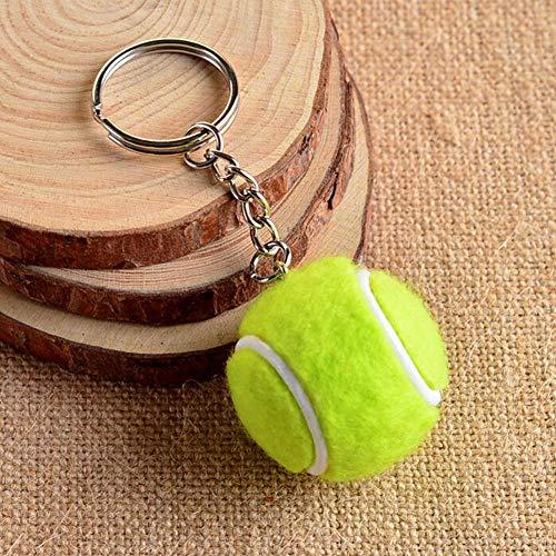SSLL Schlüsselanhänger Kreative Tennis Ball Metall Schlüsselbund Auto Schlüsselanhänger Schlüsselanhänger Sport Kette Splitter Farbe Anhänger Unisex 6 Farbe-B
