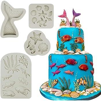 Mity rain Marine Theme Cake Fondant Mold - Seaweed Fish Seashell Coral Mermaid Tail Silicone Mold for Mermaid Theme Cake Decoration Chocolate Candy Polymer Clay Cupcake Cookie Jelly Sugar Craft