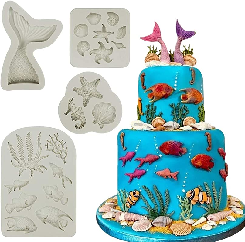 Mity Rain Marine Theme Cake Fondant Mold Seaweed Fish Seashell Coral Mermaid Tail Silicone Mold For Mermaid Theme Cake Decoration Chocolate Candy Polymer Clay Cupcake Cookie Jelly Sugar Craft