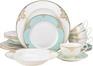 EURO Porcelain 20-pc. Dinner Set Service for 4, 24K Gold-plated Luxury Bone China Tableware (