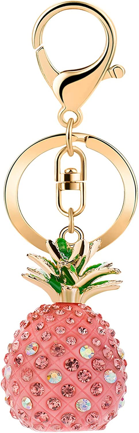 JOUDOO Solid Pineapple Keychain with Rhinestone keyring for Bags or Purse GJ006