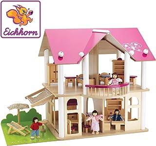 Eichhorn 2513 - Casa de muñecas de Madera con Muebles y Figuras (Simba Dickie)