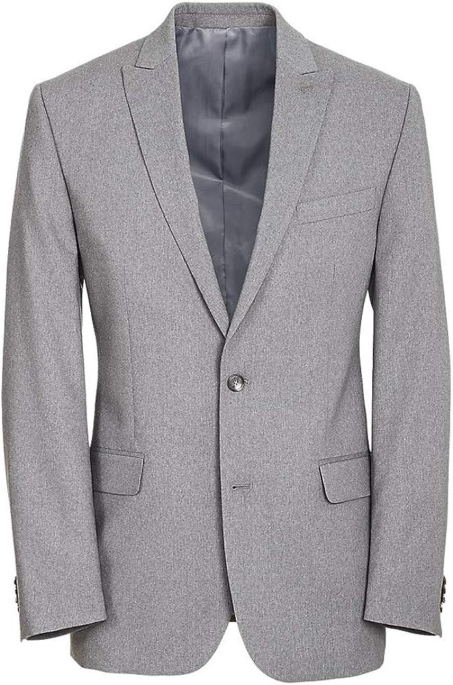 Paul Fredrick Men's Classic Fit Essential Wool Peak Lapel Side Vents Suit Jacket Grey 46 Extra-Long RA1815J