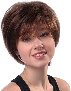 شعر مستعار للنساء من فيست نايت بطول 11 انش - قصير ومسترسل بلون بني من شعر بشري حقيقي مقاوم للحرارة