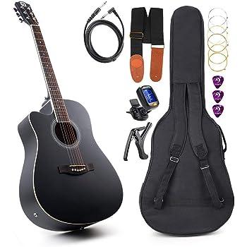 Vangoa 44 Guitare pour Gaucher Acoustique électrique Guitare Egaliseur 4 bandes avec débutants kits, 104 cm, Noir