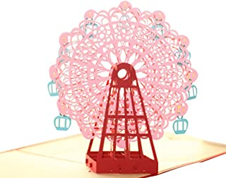 Creative 3D Greeting Card Handmade Paper Carved Hollow Birthday Children Ferris Wheel Pink