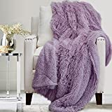The Connecticut Home Company Soft Fluffy Warm Shag and Sherpa Throw Blanket, Luxury Thick Fuzzy Blankets for Home and Bedroom Décor, Comfy Washable Accent Throws for Sofa Beds, Couch, 65x50, Purple
