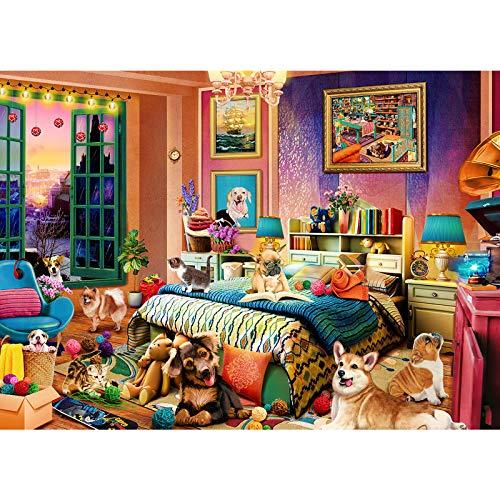 Puzzle 1000 Teile Welpenrätsel, Freches Haustierhaus,1000 Stück Spiel Puzzles für Erwachsene, Geschicklichkeitsspiel für die Ganze Familie, Bunte (70x50 cm)