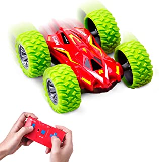 Refasy Children Remote Control Car Toys Double-Sided 4WD Stunt Car for Kids