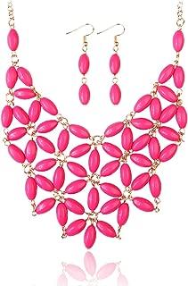 RIAH FASHION Colorful Acrylic Bead Bubble Statement Hammock Bib Necklace - Tessellate Cluster Statement Collar Beaded Flower, Linked Teardrop Jewel Net
