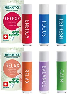 Aromatherapy Nasal Inhaler [Swiss Made] Organic Essential Oils Set Diffuser for Sleep, Stress, Anxiety and Others [ Portab...