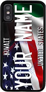 BRGiftShop Customize Your Own Mixed USA and Kuwait Flag Rubber Phone Case for Apple iPhone Xs Max