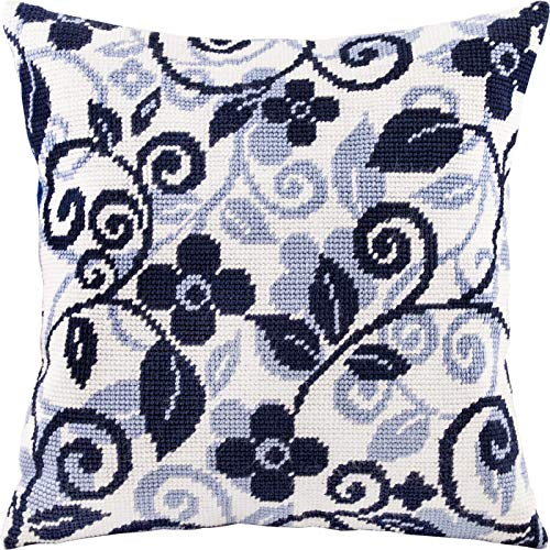 Floral Twirls. Needlepoint Kit. Throw Pillow 16×16 Inches. Printed Tapestry Canvas, European Quality