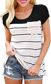 Hiistandd Womens Summer Short Sleeve Shirt Striped Color Block Casual Tops with Pocket