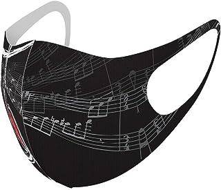 デザイン マスク 2枚セット ポリエステル 洗える 布マスク 男女兼用 008511 ラブリー 黒 ブラック 音符 楽譜 ハート