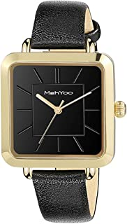 MehYoo Gold Watches for Women, Waterproof Leather Square Women Watch, Japan Quartz Movement