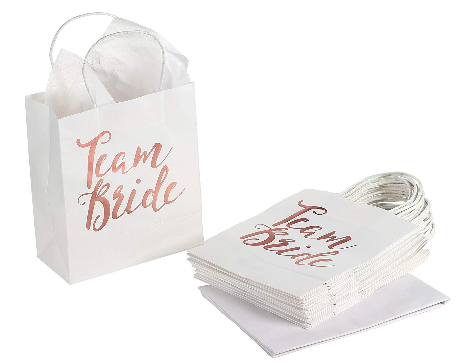 Amazon Com 15 Pack Bridesmaid Gift Bags Team Bride Rose Gold Foiled With Handle Includes Tissue Paper For Bridal Shower Bachelorette Party 8 X 9 Inches Home Kitchen