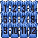 (DB, XL, 1-12) Premium Scrimmage Sport Training Vest - Soccer, Basketball, Football and Hockey Pinnies - Practice and Game Bibs for Kids, Youth and Adults - 12-Pack with Carry Bag